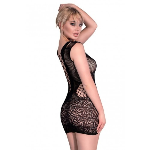 CR 4384 Black Seamless Minidress