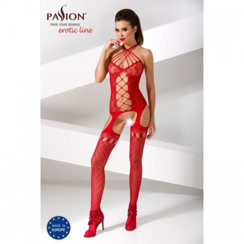 Suspender Bodystocking - Red