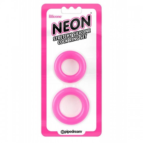 Neon Silicone Cock Ring Set Pink