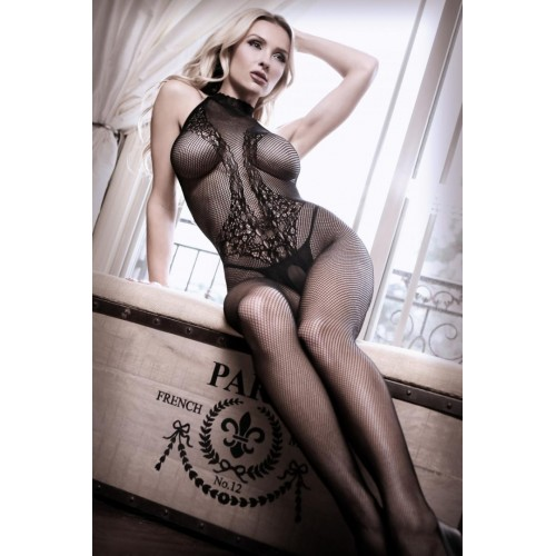 Lace Catsuit With Halterneck