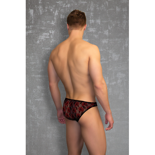 Lace Thong - Black/Red