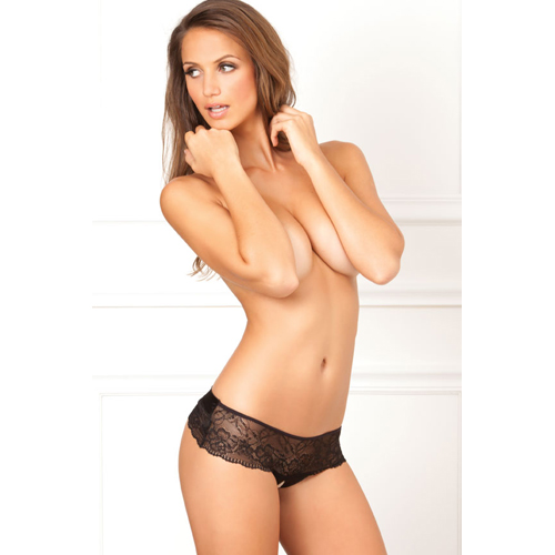 Cross Loos Lace Panties With Bow