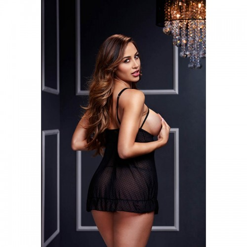 Black Sheer Babydoll With Open Cup