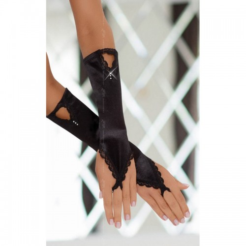 Satin Strass Gloves Black