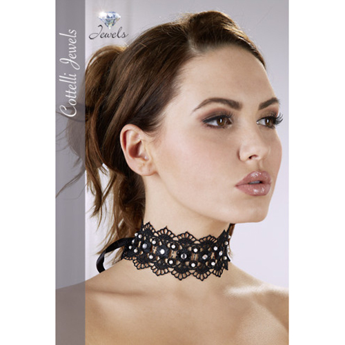 Embroidered Choker With Rhinestones